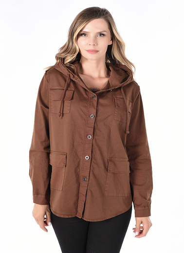 Optique Knitwear Pul Payetli Kapşonlu Uzun Kol Pamuk Ceket Camel